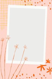 Vector de marco de imagen floral con garabatos de flores sobre fondo rosa estético