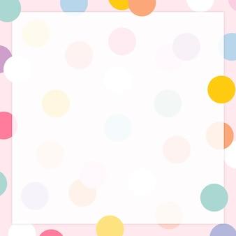 Vector de marco de lunares pastel en lindo patrón pastel