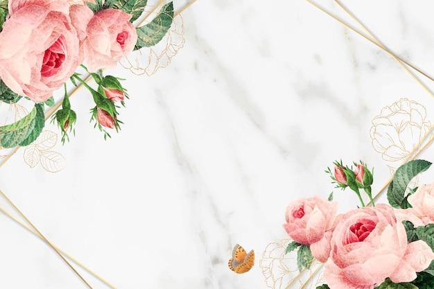 Vector de marco de mármol floral dorado