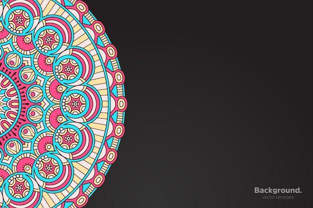 Vector de marco negro con mandala oriental abstracto