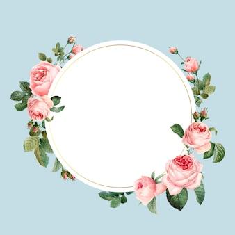 Vector de marco de rosas rosadas redondas en blanco sobre fondo azul