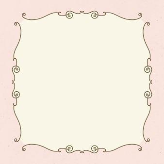 Vector de marco vintage sobre fondo rosa pastel