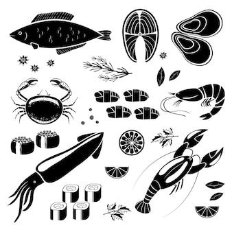Vector, mariscos, iconos, negro, siluetas