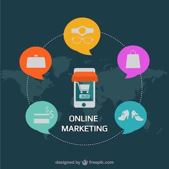 Vector de márketing online con smartphone