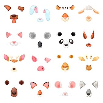 Vector de máscara animal cara de enmascaramiento animal de personajes salvajes oso lobo conejo y gato o perro en mascarada ilustración conjunto de carnaval disfraz enmascarado tigre máscara aislada sobre fondo blanco