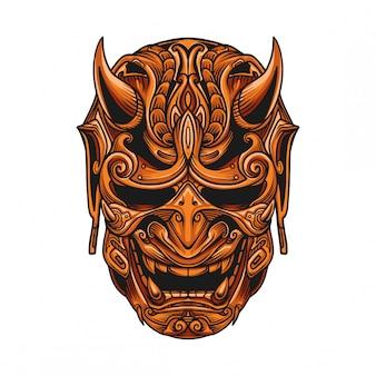 Vector de mascara samurai