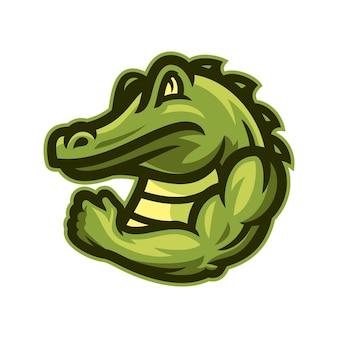 Vector de la mascota de la mascota del cocodrilo fuerte