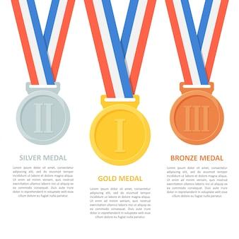 Vector de medallas en blanco.
