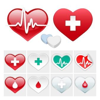 Vector médico conjunto de iconos de corazones