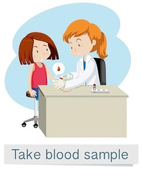 Vector médico de tomar muestras de sangre