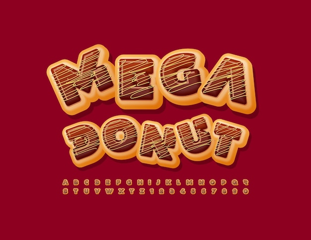 Vector mega chocolate donut font delicioso estilo alfabeto sabroso conjunto de letras y números