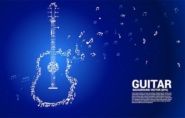 Vector melodía de música nota baile icono de guitarra de forma de flujo