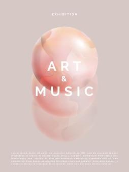 Vector minimalista abstracto bola de mármol esfera o planeta cartel cubierta de libro o anuncio