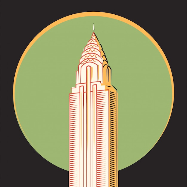 Vector minimalista, el edificio chrysler, nueva york.