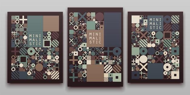 Vector mínimo cubre el diseño procedimental. plantilla de portada de diario o libro.