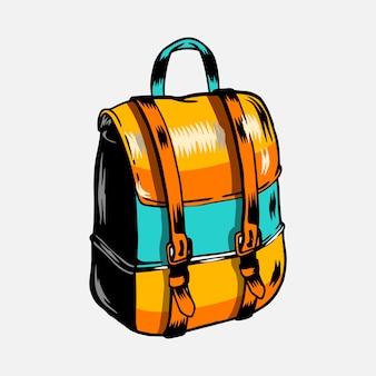 Vector de mochila de viaje de camping colorido