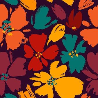 Vector el modelo inconsútil con las flores salvajes del dibujo de la mano, botánico colorido