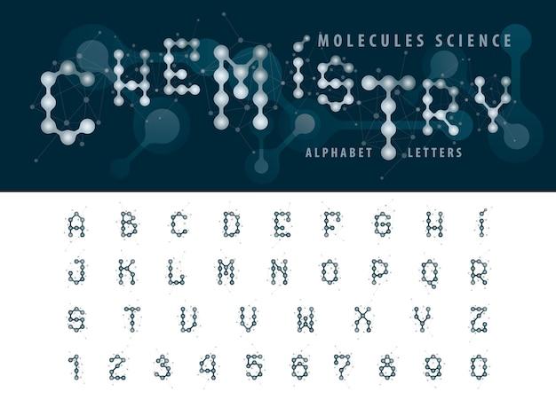 Vector de la molécula abstracta de células del alfabeto letras y números