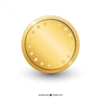 Vector moneda de oro brillante