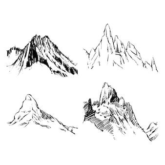 Vector de las montañas sobre un fondo blanco