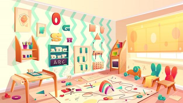 Vector montessori habitación con manchas de pintura, escuela primaria con basura