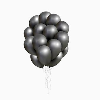 Vector montón de globos negros brillantes