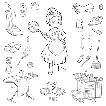 Vector con mucama y objetos de limpieza. artículos en blanco y negro