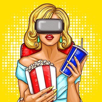 Vector mujer de arte pop viendo la película con gafas de realidad virtual.