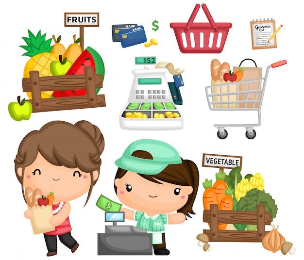 Un vector de una mujer comprando comestibles.