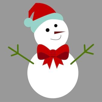 Vector de un muñeco de nieve, invierno, nieve blanca, sombrero, cara, ramitas, arco. sobre un fondo gris