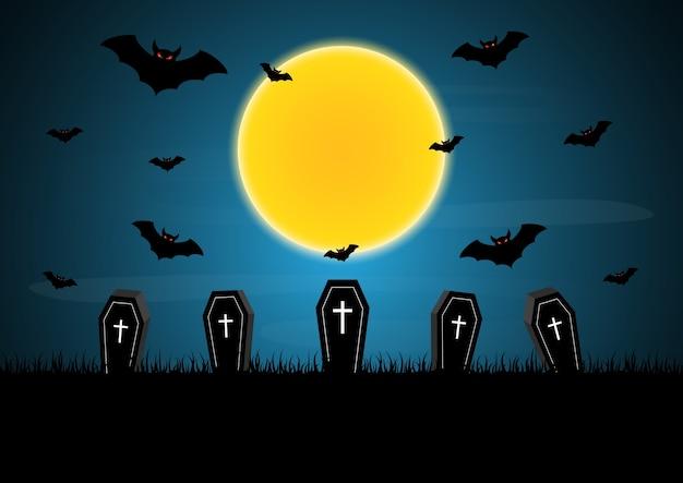 Vector de murciélago luna de halloween