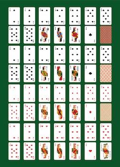 Vector de naipes naipes para póker en casino conjunto de ilustración de jugadores juegos de azar signos rey reina y jack aislado