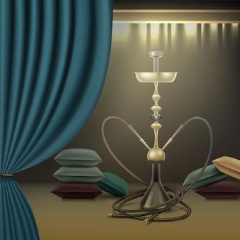Vector nargile grande para fumar tabaco hecho de metal con largas mangueras de narguile, almohadas y cortinas