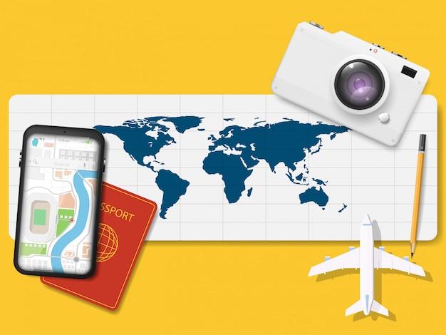 Vector de navegación y mapas para viajes.