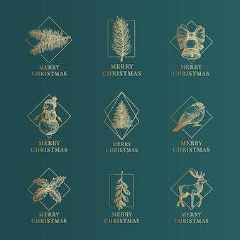 Vector de navidad enmarcado etiquetas o colección de plantillas de signos. ramas de pino dorado dibujadas a mano, muñeco de nieve, ciervos, acebo y muérdago bocetos ilustraciones con tipografía. fondo verde premium.