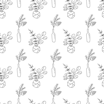 Vector navidad minimalista monoline escandinavo sin fisuras patrón planta ramo en botellas