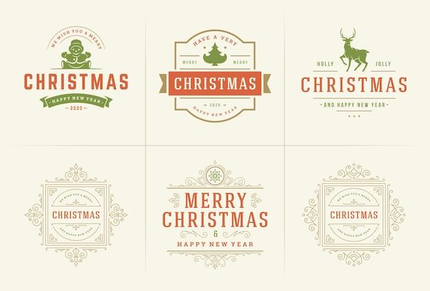 Vector de navidad ornamentadas etiquetas e insignias con feliz año nuevo vacaciones desea tipografía para
