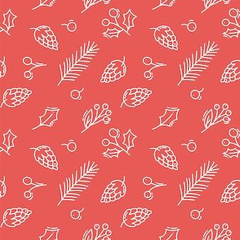 Vector navidad rojo de patrones sin fisuras con conos, bayas y ramas de los árboles