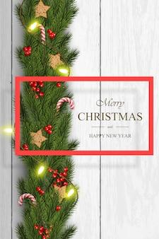 Vector de navidad sobre fondo blanco de madera con deseos, ramas de pino.
