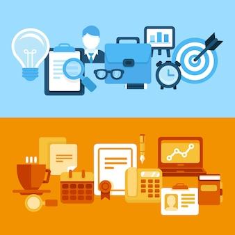 Vector de negocios y gestión de estilo plano.