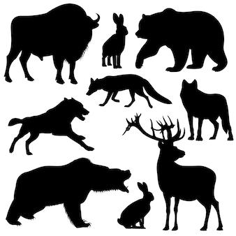 Vector negro contorno siluetas de animales de bosque salvaje