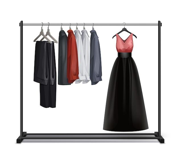 Vector negro metal, perchero de madera con vestido, pantalones, pantalones y camisas vista frontal aislado sobre fondo blanco.