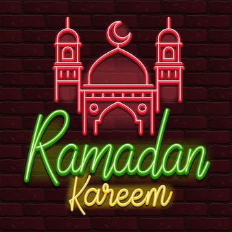 Vector de neón ramadan kareem pared de ladrillo