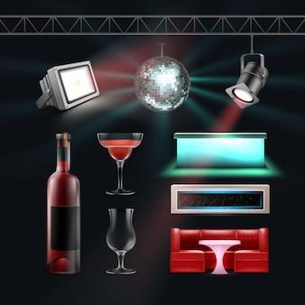 Vector night club set bola de discoteca, mostradores de bar, copa de cóctel, botella de vino, focos de techo y suelo