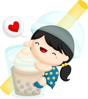 Un vector de una niña abrazando una burbuja gigante de té