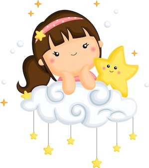 Un vector de una niña y una estrella encima de una nube.