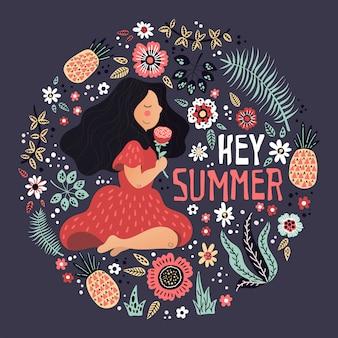 Vector niña rodeada de plantas y flores. letras: hola verano.