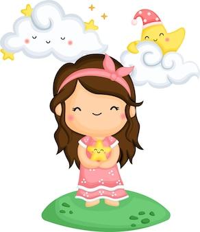 Un vector de una niña sosteniendo una estrella en sus brazos.