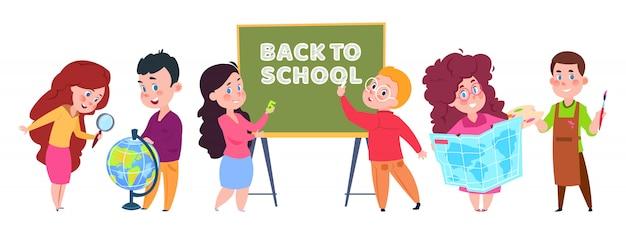 Vector de niños de la escuela personaje de dibujos animados de estudiantes aislado en blanco