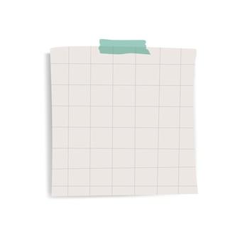 Vector de nota de papel de recordatorio de cuadrícula cuadrada en blanco